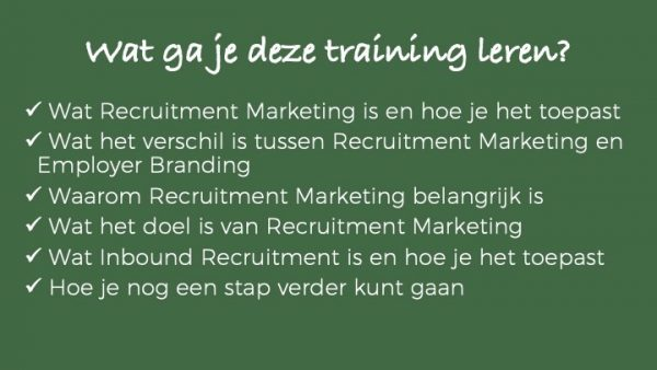 Wat je gaat leren - online training recruitment marketing