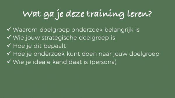 Wat je gaat leren - online training doelgroep