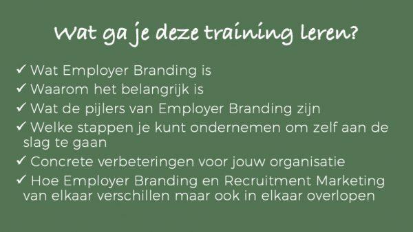 Wat je gaat leren - online training Employer Branding